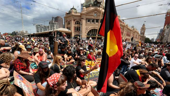Thousands attend the Invasion Day march in Melbourne on January 24, 2020. David Geraghty